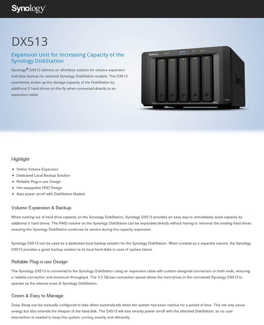 Synology Dx513 Expansion Unit Hard Disk Drive And
